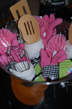 kitchen shower favors in a pot