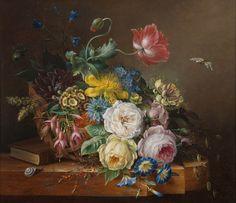 Still Life with Flowers By Elisabeth Koning, 1849 Art Floral, Vincent Van Gogh, Still Life Flowers, Victorian Flowers, Dutch Painters, Paul Cezanne, Still Life Art, Floral Bouquets, Beautiful Paintings