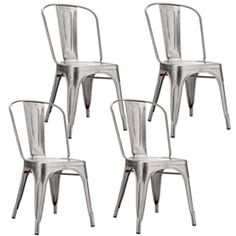 Fine Mod Imports Tolix Marais Dining Chair Set of 4 in Silver Round Back Dining Chairs, Modern Dining Chairs, Dining Chair Set, Restaurant Tables And Chairs, Garden Table And Chairs, Deck Chairs, Room Chairs, Black And White Chair, White Chairs