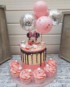 Balloon Cake Topper 5 Mini Bunting Banner Garlnd Party Birthday Wedding Hello 30 Baby Engaged Cake One Smash Pink Clear Silver Confetti Minni Mouse Cake, Minnie Mouse Birthday Cakes, Baby Birthday Cakes, Birthday Bunting, Birthday Cake Design, Mickey Birthday, Princess Birthday, Mickey Mouse, Birthday Ideas