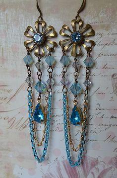 Spring Fling floral chandelier earrings with vintage by Purrrls