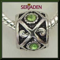 Antique Silver Spacer W Green Stones R108 - Serjaden
