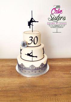pole dance cake, gâteau silhouette pole dance, dentelle, rose argentée #PoleDanceSilhouette
