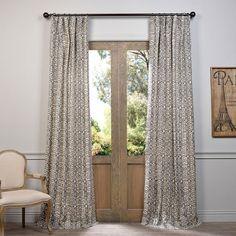Santiago Gray 108 X 50 Inch Printed Cotton Curtain Single Panel Panels & Panel Sets Windo