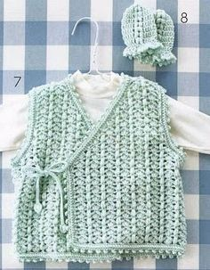 Vest and Mittens for a Baby - free crochet pattern