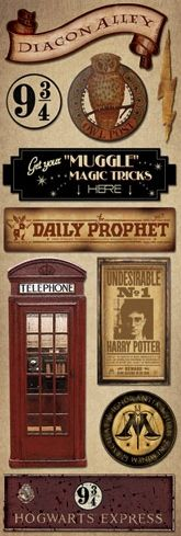 £0.99 signs Harry Potter cardstock stickers www.scrappingthemagic.co.uk great for all your Harry Potter Studio Tour or Wizarding World of Harry Potter Scrapbooking Layouts