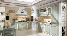 Cosa ne dite di un COLORE PASTELLO per la vostra #cucina? Si stanno sempre più diffondendo...questi colori raffinati sono in grado infatti di ricreare quel senso di familiarità delle cucine di una volta, quando questo ambiente era lo spazio dove si viveva (una tendenza in atto oggi!!) ne è un esempio la versione Acqua di Mare con anticatura in Noce della #CucinaEva in #StileClassico!