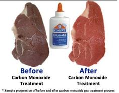 """beef before and after being """"improved"""" -70 percent of all beef and chicken sold in the United States, Canada, UK and Australia and many other countries contain a growing number of preservatives, meat glues, and antibacterial/antifungal/antiviral sprays. They also are commonly treated with carbon monoxide gas injections to make meat appear more fresh than it actually is."""