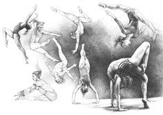Gymnastik Balett Posen Anatomie Sport Zeichnung