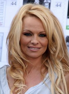 Pamela Anderson Long, Thick, Layered, Curly, Blonde Hairstyle