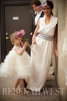 Twirling Flower Girl Dress in Silk, Full Circle Tulle Skirt, Sleeveless Satin Bodice, Made to Order.