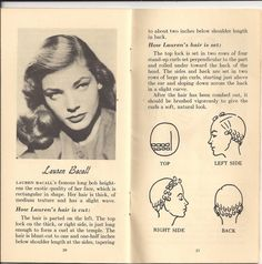 1940s booklet with Lauren Bacall-inspired hair roller diagram.