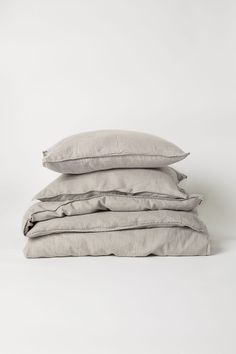Washed Linen Duvet Cover Set - Light taupe - Home All   H&M US 2