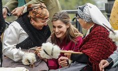 The Spanish Queen chatted with craftswomen at Santa Eulalia de Oscos, Asturias, Spain, during her visit to the region, which was awarded the 2016 Exemplary Town of Asturias Award.