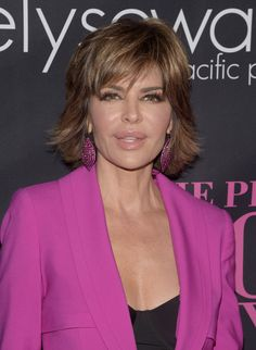 Lisa Rinna Layered Razor Cut - Lisa Rinna stuck to her signature layered razor cut when she attended the Pink Party.