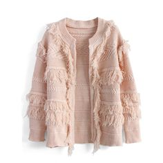 Chicwish Shaggy Mix Knit Cardigan in Pink (85 NZD) ❤ liked on Polyvore featuring tops, cardigans, pink, pink knit cardigan, pink knit top, open front cardigan, bohemian tops and drop shoulder tops