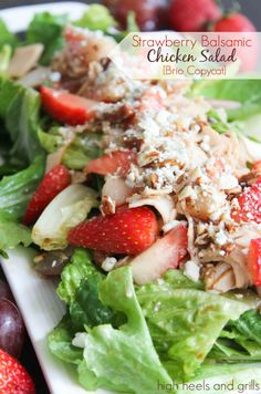 Strawberry Balsamic Chicken Salad {Brio Copycat} - High Heels & Grills