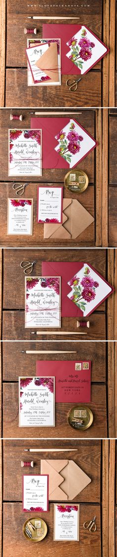 Fall Wedding Invitations made from eco papers #floral #watercolors #weddingideas #fall #autumn