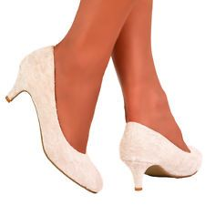 NEW IVORY LACE WEDDING BRIDAL MID KITTEN HEEL COURT PUMP SHOES UK SIZES 3 - 8