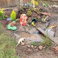 Dinosaur Garden, Dinosaur Play, Kid Garden, Backyard Play, Backyard For Kids, Play Yard, Play Area Outside, Natural Play Spaces, Natural Playground