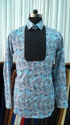 Printed shirt with black patch cesar customs