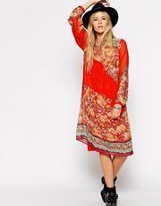 Love this look ASOS Midi Swing Dress in Boho Print - Multi #flaredress #women #covetme