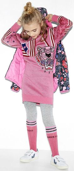 442928c943 KENZO KIDS Girls Tiger Mini Me Knitted Dress. Super Cute Streetwear Clothes  for Girls.