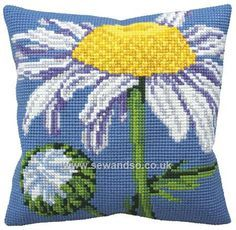Look no further for your Collection d'Art cross stitch cushion kit, marguerite. Needlepoint Pillows, Needlepoint Kits, Cross Stitch Kits, Cross Stitch Patterns, Art Rose, Cross Stitch Cushion, Crochet Cushions, Cross Stitch Flowers, Diy Embroidery