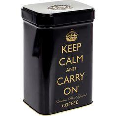 Keep Calm Coffee Tin ($18) ❤ liked on Polyvore