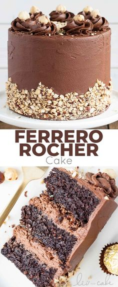 This Ferrero Rocher Cake is your favourite chocolate hazelnut treat in cake form! Chocolate hazelnut cake layers and with a Nutella buttercream. | livforcake.com