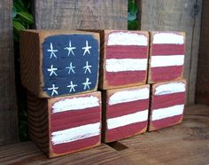 Shabby Chic Rustic Old Glory Wooden Blocks
