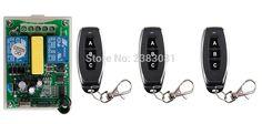 AC220V 2Channe RF wireless remote control switch System, 3X Transmitter + 1 X Receiver, tubular motor garage doorshutters window #Affiliate