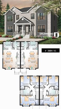 Country style semi detached with 3 bedroom units on two floors # · sims 4 house plansfamily Sims 4 House Plans, Family House Plans, Dream House Plans, Modern House Plans, The Plan, Duplex Floor Plans, House Floor Plans, Semi Detached, Detached House