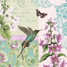 4 x Paper Napkins - Hummingbird - Ideal for Decoupage / Decopatch (2094)