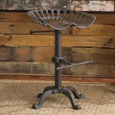 Tractor Stool Cast Iron Vintage Style Seat Bar Rustic Industrial Shabby chic
