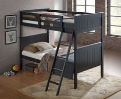 Get the most out of your space with our classic black bunk beds for boys with a tilt ladder. Our bunk beds feature solid pinewood construction with attractive panel headboards and footboards. Bunk Bed