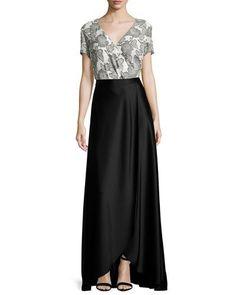 -6VZ2 St. John Collection  Metallic Blossom Faux-Wrap Blouse, Bianco/Caviar Liquid Satin Faux-Wrap Gown Skirt, Caviar