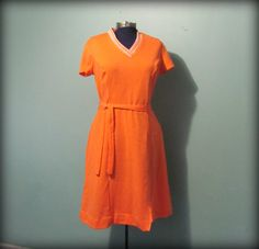 Vintage 60s Womens Orange A line  Day Dress by offbeatvintage, $26.00