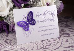 Butterfly & Floral A7 Save the Date card