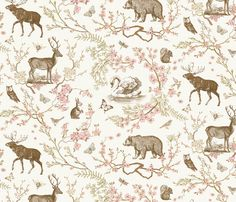 Buy Woodland Spring Toile (Sepia) custom fabric, wallpaper and home accessories by nouveau_bohemian on Spoonflower Toile Curtains, Woodland Fabric, Woodland Art, Toile Wallpaper, Pattern Wallpaper, Reno, Pink Fabric, Custom Fabric, Spoonflower