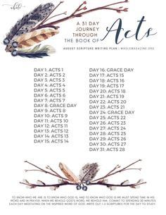 August Scripture Writing - 31 Day Journey through the Book of Acts — Whole Magazine Bible Study Plans, Bible Plan, Bible Study Tools, Bible Study Journal, Scripture Reading, Scripture Study, Bible Prayers, Bible Scriptures, Bible Notes
