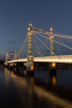 The Albert Bridge ~ is a road bridge over the River Thames in West London, connecting Chelsea on the north bank to Battersea on the south bank. London Places, London Bridge, River Thames, London Life, London Calling, London England, England Uk, Places To See, Architecture