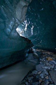 Inside of a glacier . . . beautiful and scary at the same time.