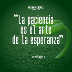 """""""La paciencia es el arte de la esperanza"""" Luc de Clapiers #Frases #FraseDelDía"""