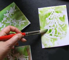 Handmade Christmas cards using wax resist