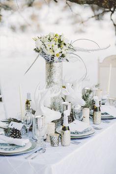 winter wedding tablescape, photo by Gideon Photography http://ruffledblog.com/an-all-white-winter-wonderland #weddingideas #winterwedding #tablescapes