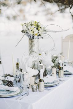 winter wedding tablescape, photo by Gideon Photography http://ruffledblog.com/an-all-white-winter-wonderland #weddingideas #winterwedding #tablescapes