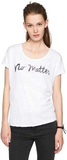 T-Shirt im Materialmix mit Print für Frauen (unifarben mit Print, Rundhalsausschnitt mit sehr kurzen Ärmeln) Front aus Chiffon, Rücken aus Jersey, Wording-Print in 3-D-Optik. Material: 65 % Viskose 35 % Polyester...