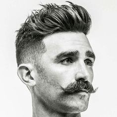 Medium Brushed Up Hair with Handlebar Mustache