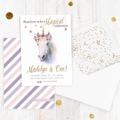 Unicorn Birthday Party Invitation Unicorn by HankandPetunia